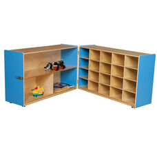 Half & Half Blue Storage Shelf Unit with Rolling Casters and Twenty Cubbies - 48-96