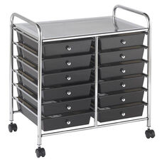12 Drawer Mobile Organizer with Chrome-Plated Top Shelf and Smoke Colored Pullout Drawers