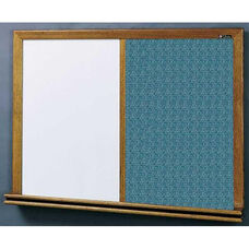 210 Series Wood Frame Combo Markerboard and Tackboard - Designer Fabric - 96