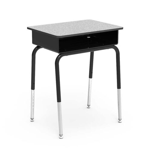 Quick Ship 785 Series Gray Nebula Laminate Top Student Desk with Black Open Front Metal Book Box, Edge, and Frame - 18