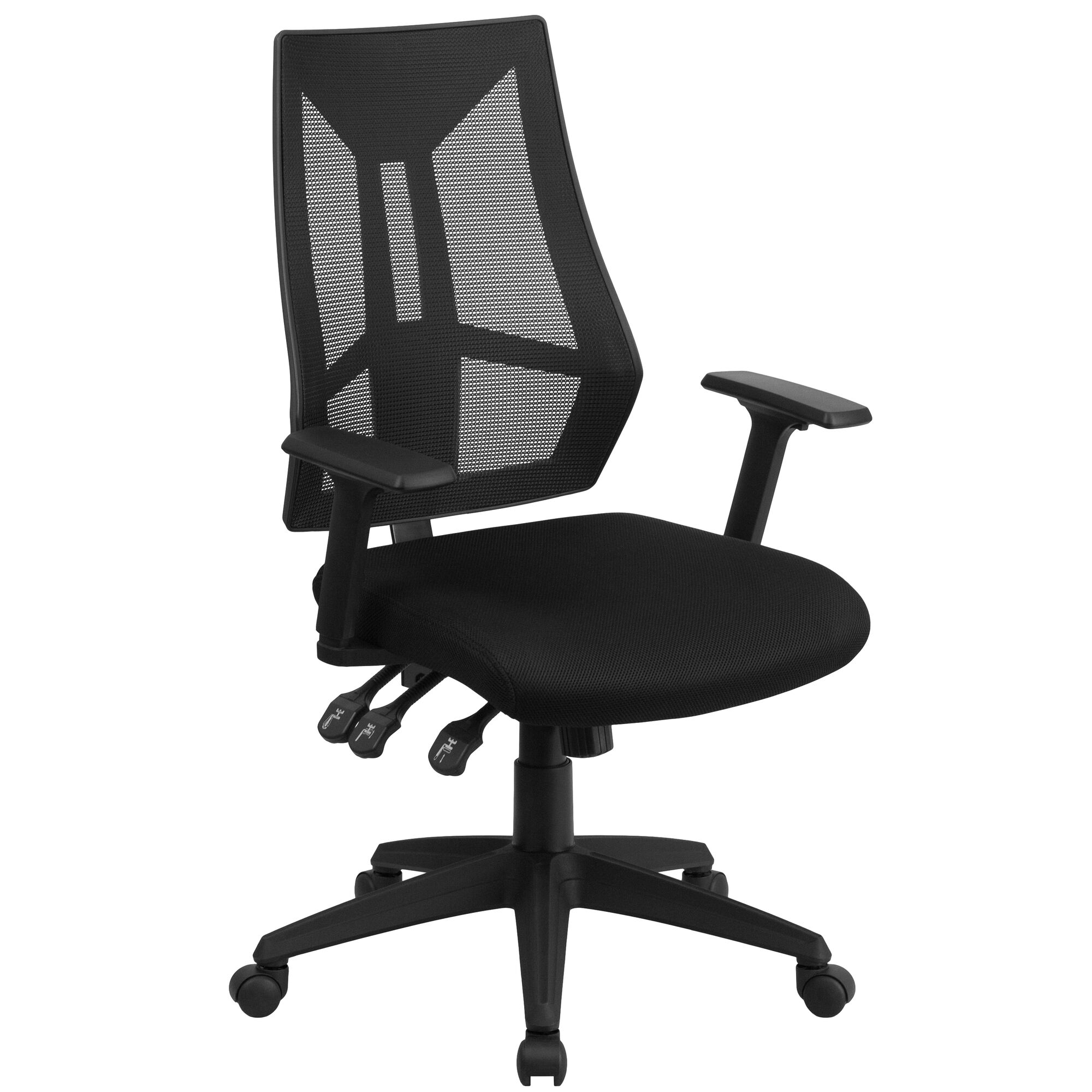 Surprising High Back Black Mesh Multifunction Swivel Ergonomic Task Office Chair With Adjustable Arms Home Interior And Landscaping Transignezvosmurscom