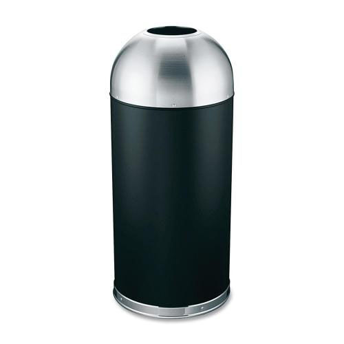 Genuine Joe Trash Receptacle - Domed Top - 15 Gal. - Black -Silver