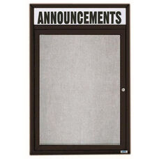 1 Door Outdoor Illuminated Enclosed Bulletin Board with Header and Black Powder Coated Aluminum Frame - 48