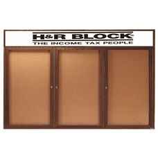 3 Door Enclosed Bulletin Board with Header and Walnut Finish - 48