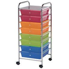 8 Drawer Chrome Frame Storage Cart - Multicolor