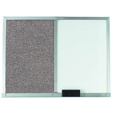 Gray Fabric Tack Board Next to a Melamine Marker Board with Aluminum Frame