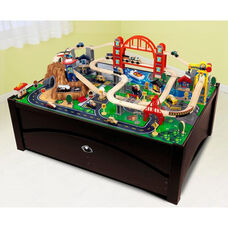 Kids Solid Wood Train Table and Metropolis Train Set with Trundle Drawer for Storage - Espresso
