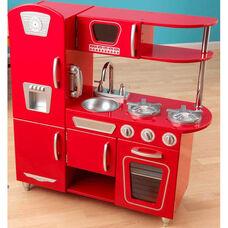 Kids Wooden Make-Believe Vintage Kitchen Play Set - Red