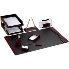 Contemporary Leather 10 Piece Desk Set - Burgundy