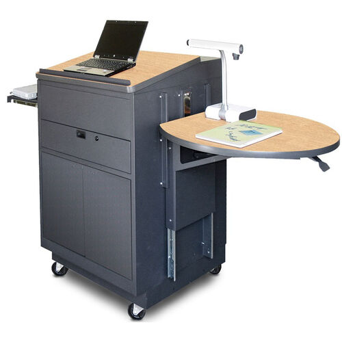 Our Vizion Sit Stand Mobile Teaching Center with Steel Doors and Lectern - Dark Neutral Finish and Kingsington Maple Laminate is on sale now.