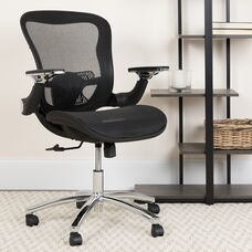 Mid-Back Transparent Black Mesh Executive Swivel Ergonomic Office Chair with Synchro-Tilt & Height Adjustable Flip-Up Arms