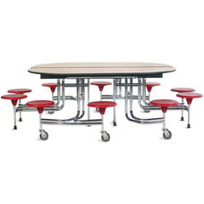 Foldable Oval Cafeteria Table with 10 Attached Round Seats - 98