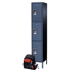 Traditional Plus Series Three Tier Powder Coated Steel Adder Locker with Recessed Handle