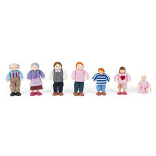 Wooden Doll Family with Seven Family Members - Caucasian