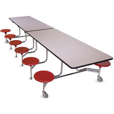 Executive Foldable Cafeteria Table with 12 Attached Round Seats - 144