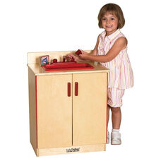 Birch Play Kitchen Sink with Interior Shelves for Under the Sink Storage