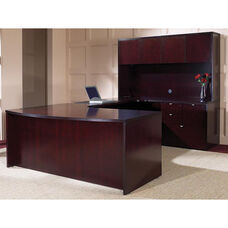 OSP Furniture Kenwood Hardwood Veneer Simple Executive U Suite with Curved Metal Drawer Pulls