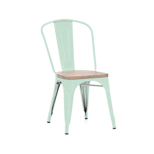 Our Dreux Matte Mint Stackable Side Chair with Light Elm Wood Seat - Set of 4 is on sale now.