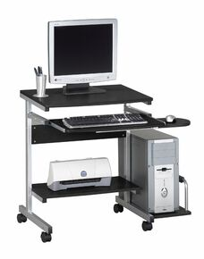 Portrait Mobile PC Desk Cart with Slide Out Keyboard Tray and Mouse Platform - Anthracite