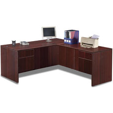 Mahogany Simple Workstation with Hanging Pedestals