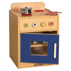 Colorful Essentials Kitchen Stove Play Station with Interior Shelves - Blue