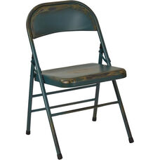 OSP Designs Bristow Distressed Steel Folding Chair - Set of 2 - Antique Turquoise