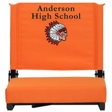 Embroidered Grandstand Comfort Seats by Flash with Ultra-Padded Seat in Orange