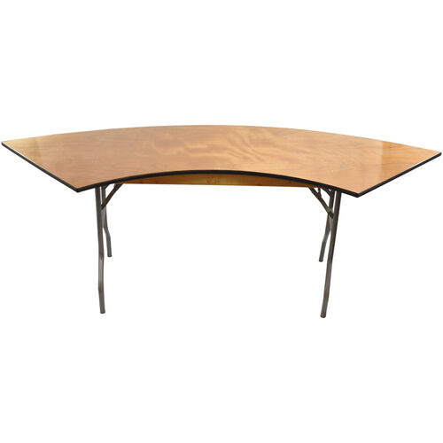 Advantage 6 ft. Serpentine Wood Folding Table