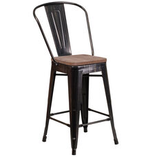 """24"""" High Black-Antique Gold Metal Counter Height Stool with Back and Wood Seat"""