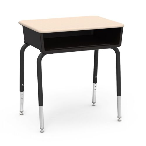 Our Quick Ship 785 Series Hard Plastic Sandstone Top Student Desk with Black Open Front Plastic Book Box and Legs - 18