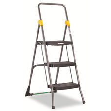Cosco® Commercial 3-Step Folding Stool - 300lb Cap - 20 1/2w x 32 5/8d x 52 1/8h - Gray