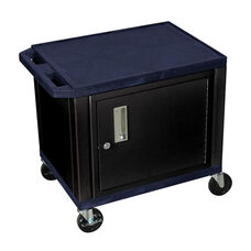 Navy Tuffy Plastic Cart with Cabinet and Black Legs