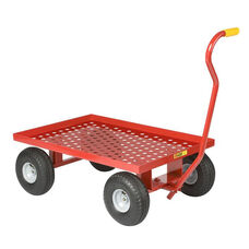 Perforated Steel Lipped Deck Red Powder Coated Wagon Truck - 24