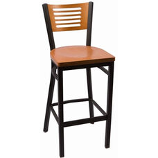 Jones River Series Wood Back Armless Barstool with Steel Frame and Wood Seat - Cherry
