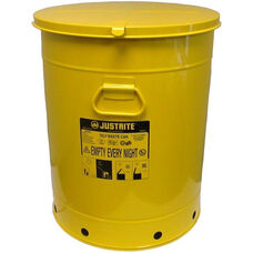 21 Gallon Steel Hand-Operated Oily Waste Can - Yellow