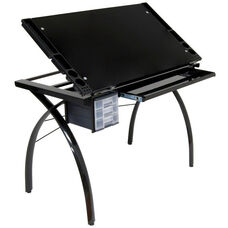 Futura Black Tempered Glass and Steel Craft Station with Adjustable Angle Top - Black