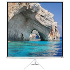 White Portable Height Adjustable Tripod Projection Screen with Matte White Fabric Screen and White Steel Casing - 96