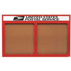 2 Door Indoor Illuminated Enclosed Bulletin Board with Header and Red Powder Coated Aluminum Frame - 48