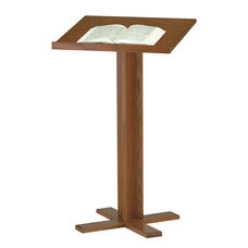 Stained Red Oak Lectern with Cross Base