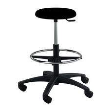 Industrial Round Black Polyurethane ABS Base Stool with Dual Wheel Casters and Footring