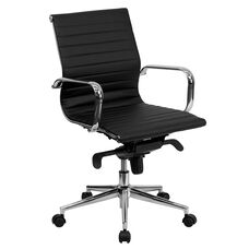 Mid-Back Black Ribbed Leather Swivel Conference Chair with Knee-Tilt Control and Arms