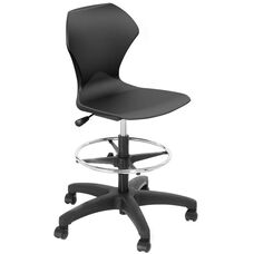 Apex Series Plastic Height Adjustable Swivel Stool with Foot Rest and 5 Star Base - Black Seat - 21