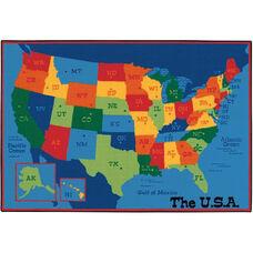 Kids Value USA Map Rectangular Nylon Rug - 96