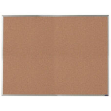 Economy Series Natural Pebble Grain Cork Bulletin Board with Aluminum Frame - 36