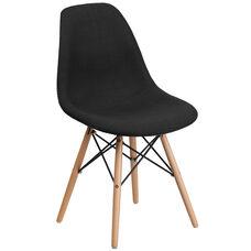 Elon Series Genoa Black Fabric Chair with Wood Base