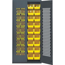 Wire Mesh Safe-View Bin Cabinet with 36 Bins - Yellow