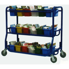 Library On Wheels™ with 18 Small Open Storage Tubs