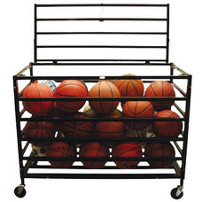 Powder Coated Steel Frame Lockable Ball Cart with Oversized Casters