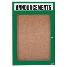 1 Door Indoor Enclosed Bulletin Board with Header and Green Powder Coated Aluminum Frame - 48