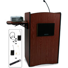 Multimedia Wireless 150 Watt Sound System Computer Lectern - 27''W x 20''D x 44''H